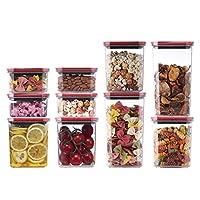 10複数の容量のプラスチック製の収納瓶セット防湿キッチン食品、キャンディクッキー米シュガー小麦粉パスタナッツのためにストレージキャニスター密閉容器0.6L * 4 + 1.4L * 4 + 2.1L * 2 (Color : Red)