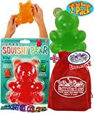Toysmith Jumbo Squishy Squeezy Gummy Bears (5.5') Gift Set Bundle with Matty's Toy Stop Storage Bag - 2 Pack (Assorted Colors)