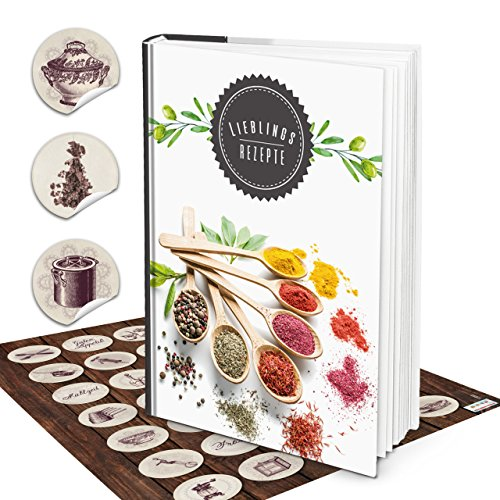 Grote Hardcover XXL receptenboek DIN A4 eigen kookboek zelf maken kruiden + vintage keukensticker met inhoudsopgave en 164 lege blanco pagina's
