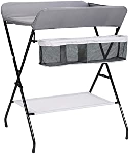 MY1MEY Foldable Baby Changing Station Diaper Table for Infant  Newborn Toddler Care Dresser Nursery Organizer with Storage  Colors  color GRAY