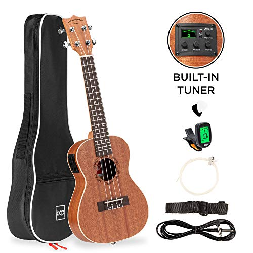 Best Choice Products 23in Acoustic Electric Concert Sapele Ukulele Starter Kit w/Gig Bag, Built-in Tuner, Strap, Picks