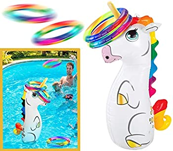Bundaloo Pool Ring Toss Game Fun Inflatable Floating Toy - 3 Ft Tall with Bounce Back Feature