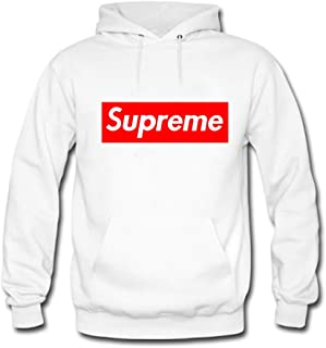 Men's Cool Supreme Logo Printed Pullover Hoodies Small White