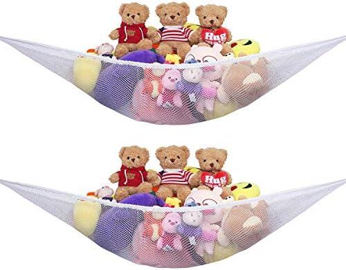 Stuffed Animal Hammock Net 2 Pack Toy Storage Organizer with Extra Large Design Corner Hanging product image