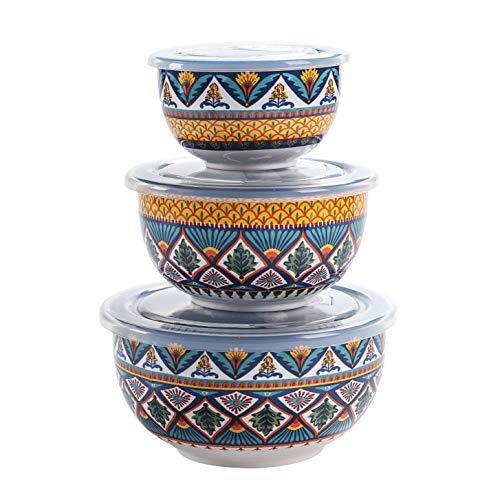 Bico Havana Ceramic Bowl with Air Tight Lid Set of 327oz 18oz 9oz each Prep bowls Food Storage Bowl for Salad Snacks Fruits Microwave and Dishwasher Safe