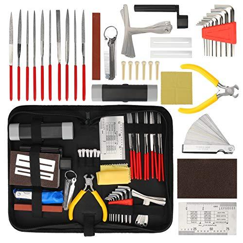 Kit de herramientas de reparación de guitarra, Brynnl 45 piezas Kit de configuración de mantenimiento de reparación de guitarra con bolsa de transporte Herramienta enrolladora
