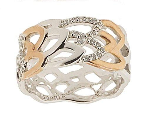 ESPRIT Damen-Ring Silver 925 Silber rhodiniert Zirkonia weiß Brillantschliff Gr. 57 (18.1) - ESRG92459A180