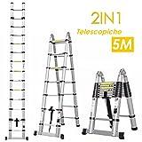FIXKIT Scala Telescopica in Alluminio, Scala Retrattile 5.0M Scaletta Pieghevole, Scala 3 Gradini Scala 6 Gradini, Scala 12 Gradini CON BARRA DI BILANCIAMENTO [Carico 150KG]
