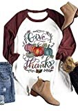 Material: Cotton Blend, Soft And Comfortable to Wear. Thanksgiving Pumpkin Graphic T-Shirt Cute Splicing Shirt Tops,Fall and Holiday Shirts Thanksgiving Give Thanks Pumpkin Graphic Tee Women Short Sleeve Halloween Tshirt Top Hand Machine Wash Cold Wa...