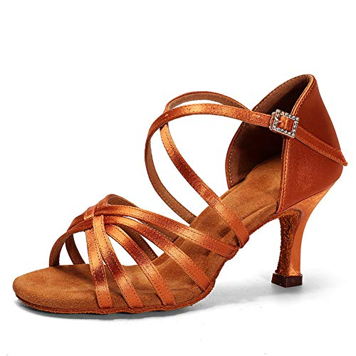 WRJ Sandalias De Las Señoras, América Salsa Suavemente Único De Baile De Tango Zapatos Peep Toe De Baile De Rendimiento Altos Talones De La Hebilla Simple Ajustable Moderno Y Bonito,2
