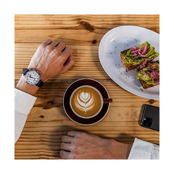 Varsche Luxury Swiss Quartz Men's Watch – 41mm Men's Analog Dress Wrist Watch with Genuine Leather Strap and Butterfly Deployment Clasp – Chronograph Watch