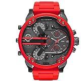 WHBLSKY - Reloj de cuarzo para hombre, esfera grande, doble movimiento, correa de acero, color rojo, blanco