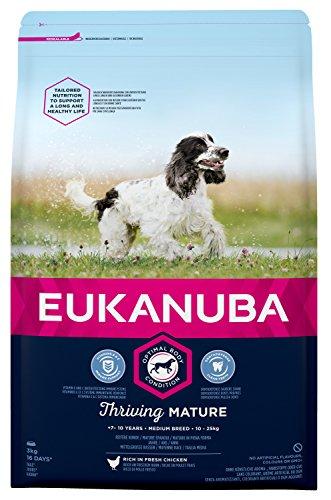 Eukanuba hondenvoer voor middelgrote rassen, premium droogvoer met vers kip, verschillende leeftijdscategorieën, Band, 3 kg, Mature & senior kleine & middelgrote rassen