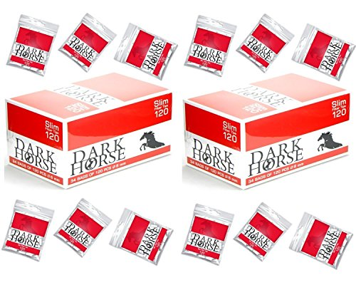 Drehfilter Slim-filter 6mm Zigarettenfilter 136 Beutel x 120 Stück Finefilter von Dark Horse Eindreh-filter Ideal für Selbstgedrehte Zigaretten Filter Tabak und Feinstaub heraus Gesamt 16320 Filter