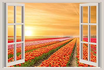 GoEoo 10x8ft White Windowsill Backdrop Vinyl Photography Background Outdoor Spring Landscape Tulips Holland Windmill Manor Wedding Background Children Adult Portrait Photo Studio