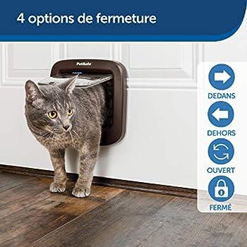PetSafe Chatière à verrouillage manuel pour chat, installation facile, verrouillage manuel à 4 voies, pour chats jusqu'à 7 kg, économe en énergie, adaptable, accessoires disponibles, plastique marron