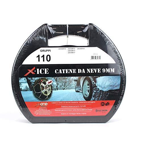 XONE ACCESSORI SRL Catene da Neve Catena per Auto 9MM Omologata TUV Certificazione Europea (GRUPPO110) 225/60-16 255/40-17 235/50-17 245/45-17 245/40-18