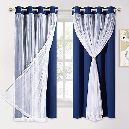 PONY DANCE Navy Blue Curtains Blackout - Room Darkening Curtains with Sheer Elegance Drapery Layered Curtains Mix and Match for Living Room/Kids Bedroom (Set of 2, 52x63 inch, Free Tie-Backs)