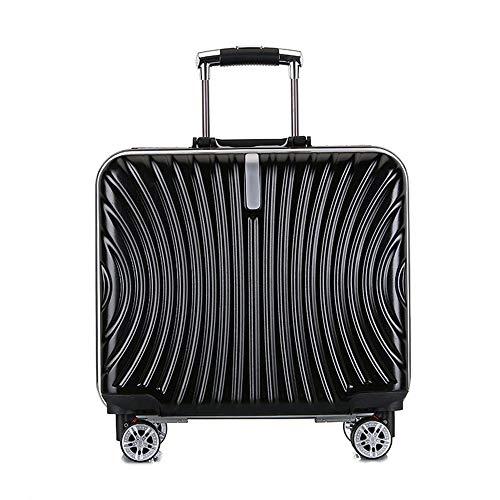 XIAOGAO Koffer, ABS-Hardcase-Reisewagen, Boarding-Reisekoffer, 4 Universal-Silent-Rollen, 44 cm (In 4 Farben Erhältlich),Schwarz