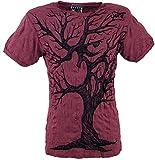 Guru-Shop Sure T-Shirt OM Tree, Herren, Bordeaux, Baumwolle, Size:L, Bedrucktes Shirt Alternative Bekleidung