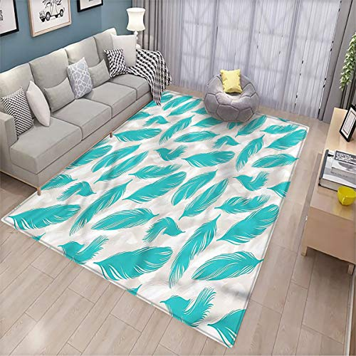 Turquoise Balcony Floor mat Classic Bird Feathers Printed Multicolor Floor mat