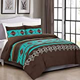 2 Piece Western Southwestern Native American Design Comforter Set Multicolor Teal Coffee Brown Embroidered Twin Size Navajo Bedding Set- Makala (Twin)