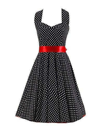 VKStar® Retro 50er Neckholder Rockabilly Kleid Damen Rückenfrei Cocktailkleid Audrey Hepburn Swing Kleid Weiß Schwarze Tupfen A S