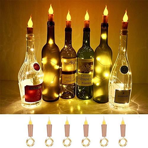 YLHXYPP Ahorro de energía 10pcs 2M 20LEDS Vela botella de vino cadena luz botella de vino llama corcho lámpara DIY fiesta boda día Garland protección ambiental.