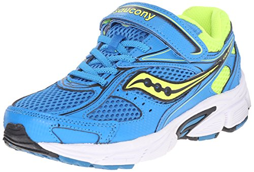 Saucony Cohesion 8 Alternative Closure Running Shoe (Little Kid/Big Kid), Blue/Citron, 10.5 M US Little Kid