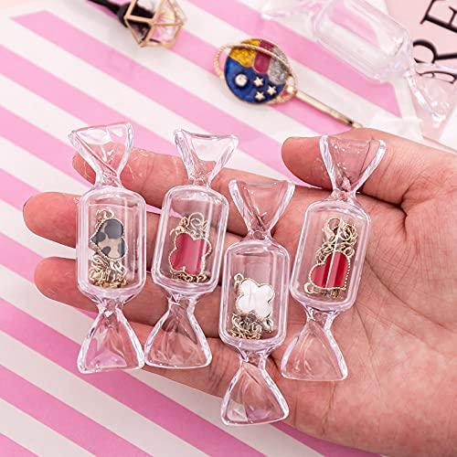 N\C Caja de almacenamiento de maquillaje transparente con forma de caramelo, 5 unidades, mini pendientes, bolsa de joyería de viaje, organizador de cosméticos