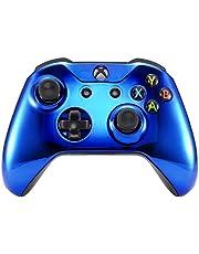 eXtremeRate Carcasa para Xbox One S X Funda Delantera Protectora de la Placa Frontal Cubierta de reemplazo para Mando del Xbox One S y Xbox One X (Model 1708) Azul Cromado
