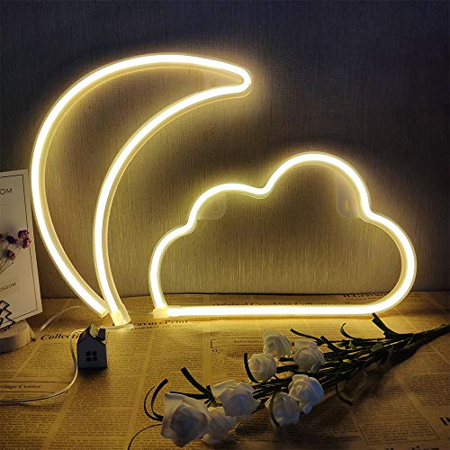 Warm White Cloud Neon Signs and Moon neon Lights Combination Decorating Neon Signs Light for Wall USB/Battery Powered Neon Light Signs Neon Night Light for Home Living Room Christmas Wedding Party