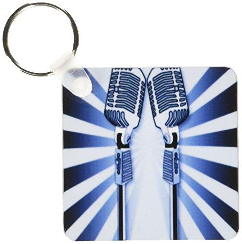 3dRose Steam Punk blauwe microfoons - sleutelhangers, 2,25-inch, set van 2 sleutelhangers, 6 cm, varianten