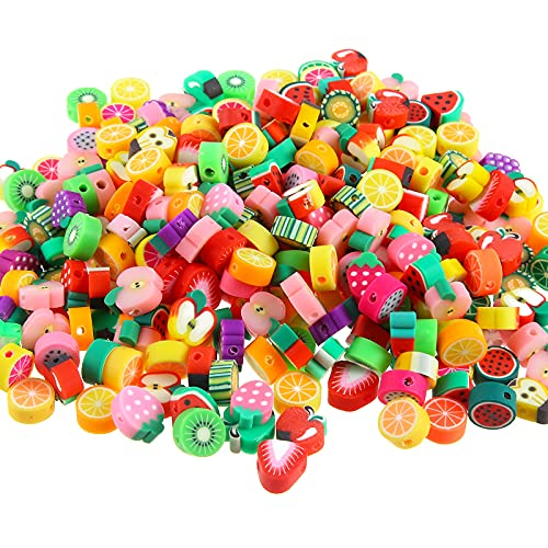 yumcute 100 Pz Perline Fiore di Frutta,Perline Per Braccialetti,Perle di Argilla Polimerica,per Creazione di Gioielli,Orecchini,Collane