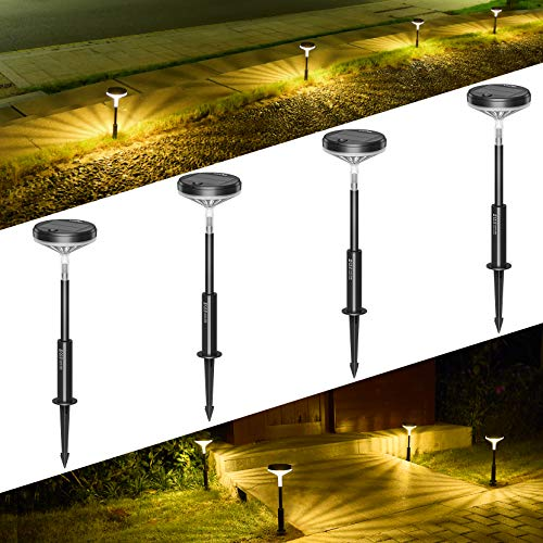 LITOM Solar Pathway Lights Outdoor, 3 Lighting Modes Wireless Solar LED Landscape Lights, IP65 Waterproof Solar Powered Garden Lights for Ground Lawn Patio Yard Driveway Deck Walkway 4 Pack Warm White