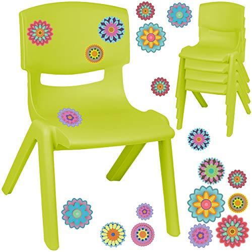 alles-meine.de GmbH Kinderstuhl / Stuhl - Motivwahl - grün - apfelgrün + Sticker - Bunte Blumen & Blüten - inkl. Name - Plastik - bis 100 kg belastbar / kippsicher - für INNEN & ..