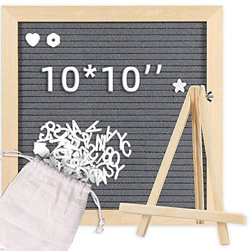 Tablero de fieltro para mensajes de fieltro con letras blancas, soporte y bolsa de cartas, marco de madera, gris, 25 x 25 cm para decoración de escritorio y pared