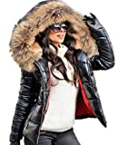 Aofur Womens Ladies Quilted Winter Coat Fur Collar Hooded Down Jacket Parka Outerwear (X-Large, Black)
