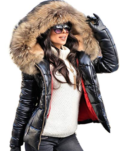 Aofur Womens Ladies Quilted Winter Coat Fur Collar Hooded Down Jacket Parka Outerwear (Medium, Black)
