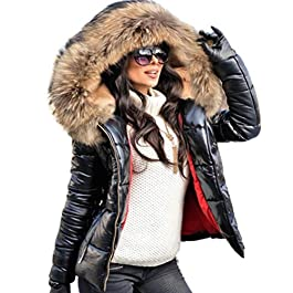 Aofur New Ladies Quilted Padded Puffer Bubble Fur Collar Warm Thick Womens Jacket Coat Black