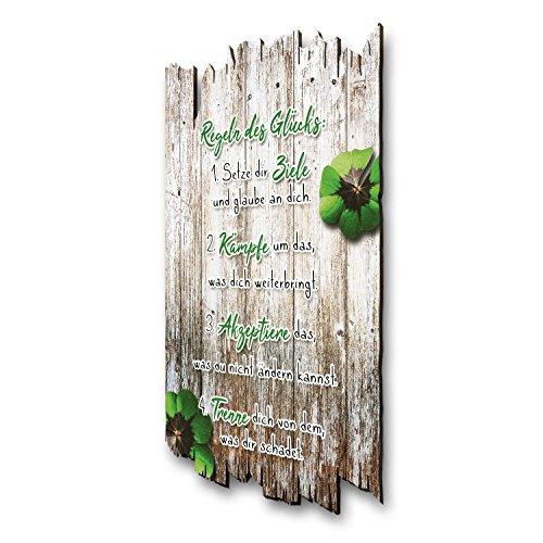 Kreative Feder Regeln des Glücks - Wandbild - Holzschild mit Spruch und Motiv - Shabby Chic Landhaus Stil - Wand Deko für Zuhause Familie und Freunde 30x20cm