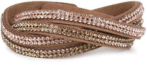styleBREAKER weiches Strass Armband, eleganter Armschmuck mit Strassteinen, Wickelarmband, 2x2-Reihig, Damen 05040004, Farbe:Braun/Hellbraun-Rose