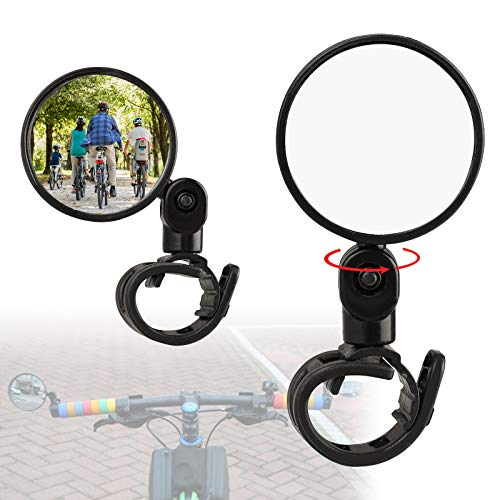 2PCS Bike Mirror, Bicycle Rear Adjustable Rearview Mirror, 360° Rotatable Rear-View Mirrors Handlebar Mounted Glass Mirror, Universal Rearview Mirror for Mountain Bike and Road Bike