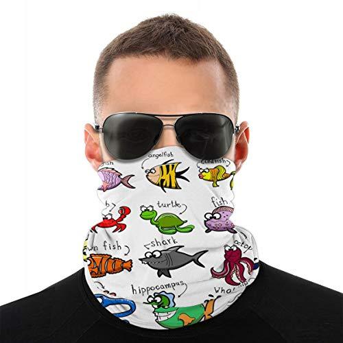 Hipiyoled Kopfbedeckung für Aquarium, Cartoon, Oktopus, Delfin, Haifisch, Wal, Clown, Fische, Quallen, Einsiedlerkrebse, 25,4 x 50,8 cm, Handkopf, Sport, Stirnband, Schweißband, Schlauchschal