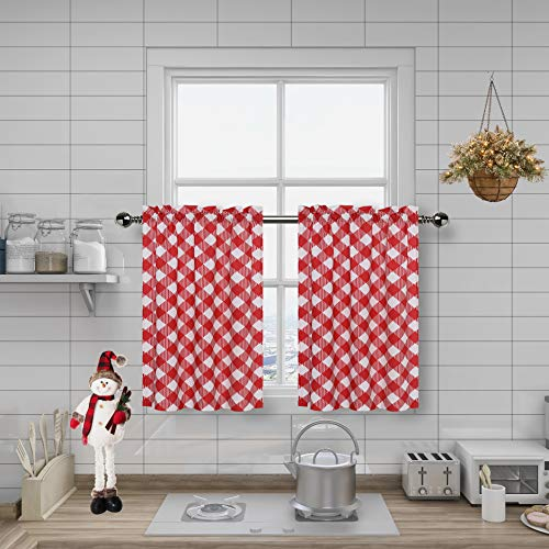 """Amzdecor Buffalo Check Plaid Café Kitchen Window Curtain Tiers Check Pattern with Buffalo Gingham Squares Rhombus Lattice, for Bathroom/Kitchen Cafe,27"""" x 24"""", 2 Panels, Red"""