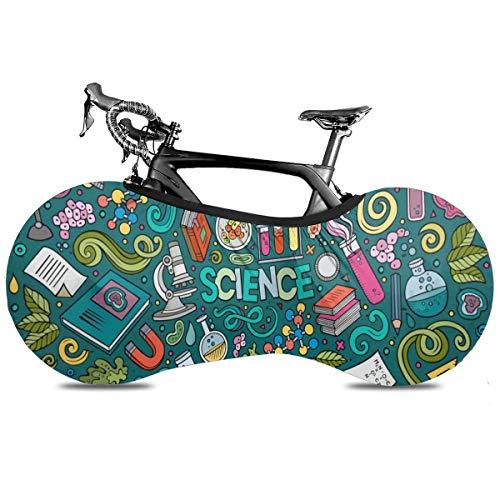 Asiático Elementos Paisley Cubierta de Bicicleta Portátil Interior Anti Polvo Alta Elástica Cubierta De Rueda De Bicicleta De Protección Rip Stop Neumático Carretera Mtb Bolsa De Almacenamiento, Tema de la ciencia de dibujos animados, talla única
