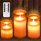 Battery Operated Candles Flickering Flameless with Remote Timer, Tufusiur Gold Glass Effect Led Electric Fake Candles for Christmas Home Party Decor Birthday Womens Gifts for Mom