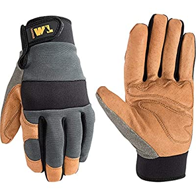 Men's Heavy Duty Leather Palm Hybrid Spandex Work Gloves, Medium (Wells Lamont 3236)