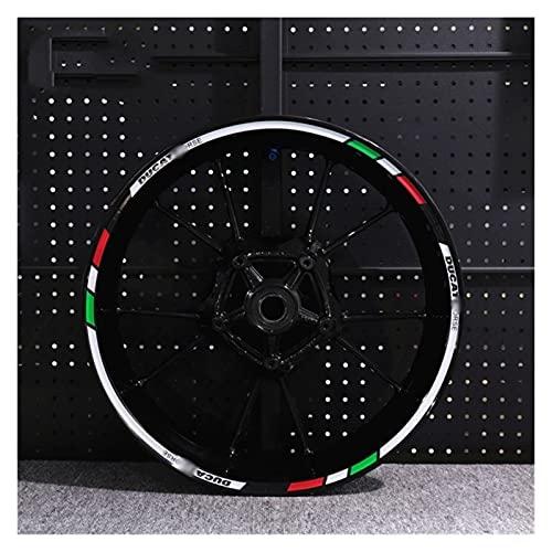 para Ducati 696/821/848/899/1199/1299 Pegatina De Cubo De Motocicleta Reajuste Impermeable Reflectante Calcomanía De Rueda Delantera Y Trasera (Color : 5)