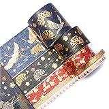 Cinta De Scrapbooking 5 Unids/Set Vintage Gold Foil Crane Washi Tape Adhesive Paper Tape School Office Supplies Diy Scrapbooking Cinta Adhesiva Decorativa